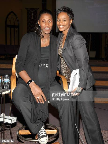 Former WNBA player/Olympic Gold Medalist Lisa Leslie and Solombra Ingram President of I'm Every Woman pose at Lisa Leslie's book signing of Don't Let...