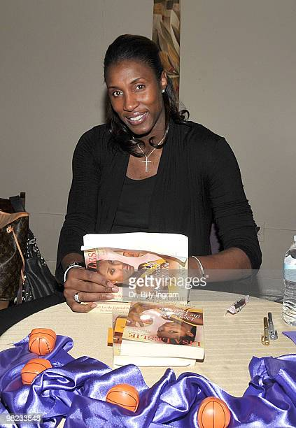Former WNBA player/Olympic Gold Medalist Lisa Leslie signs copies of her book Don't Let The Lipstick Fool You at Marantha Community Church on April 3...