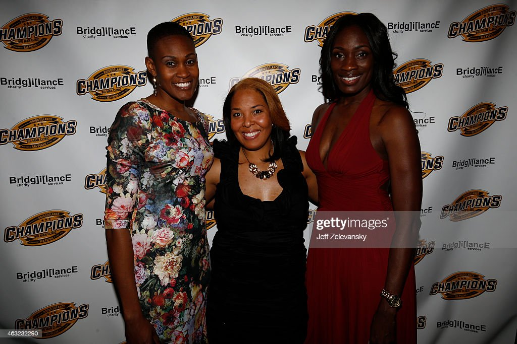 Former WNBA players Andrea Garner, Helen Darling and Rushia Brown attend the 2015 Big Man Clinic - After Party fundraiser by Bridgilance on February 11, 2015 in New York City.