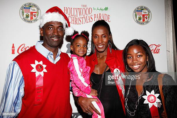 Former WNBA star Lisa Leslie husband Michael Lockwood daughter Lauren and guest attend the 2009 Hollywood Christmas Parade on November 29 2009 in...