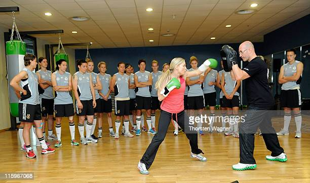 Former wolrd boxing champion Regina Halmich boxes during a Germany training session at Fitness First club on June 13 2011 in Frankfurt am Main Germany