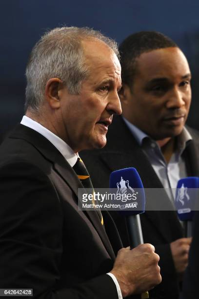 Former Wolves player Steve Bull and Paul Ince are interviewed for TV during the Emirates FA Cup Fifth Round match between Wolverhampton Wanderers and...