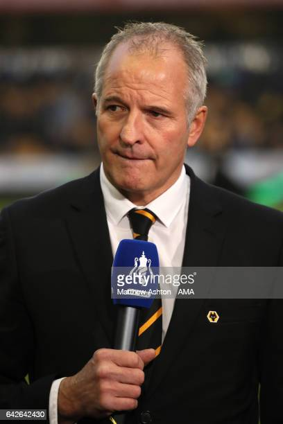 Former Wolves player Steve Bull is interviewed for TV during the Emirates FA Cup Fifth Round match between Wolverhampton Wanderers and Chelsea at...