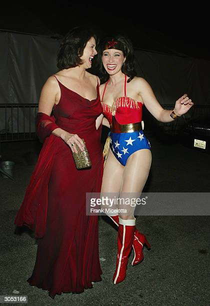 Former 'Wonder Woman' actress Lynda Carter and Wonder Woman laugh backstage at the 2nd Annual TV Land Awards held at The Hollywood Palladium March 7...