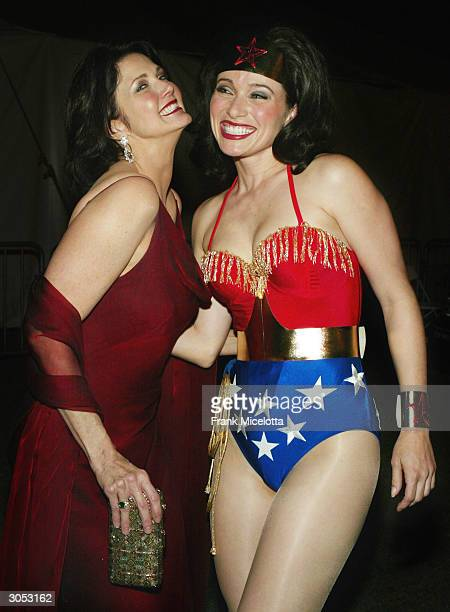 Former Wonder Woman actress Lynda Carter and Wonder Woman pose backstage at the 2nd Annual TV Land Awards held at The Hollywood Palladium March 7...