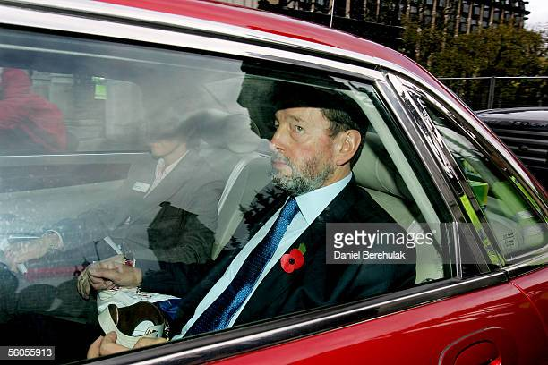 Former Work and Pensions Secretary David Blunkett leaves the Houses of Parliament for a meeting with Prime Minister Tony Blair on November 2 2005 in...