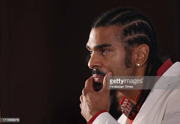 Former world boxing champion David Haye announcing a fitness franchise in partnership with Bollywood actor John Abrahm during the press meet on June...