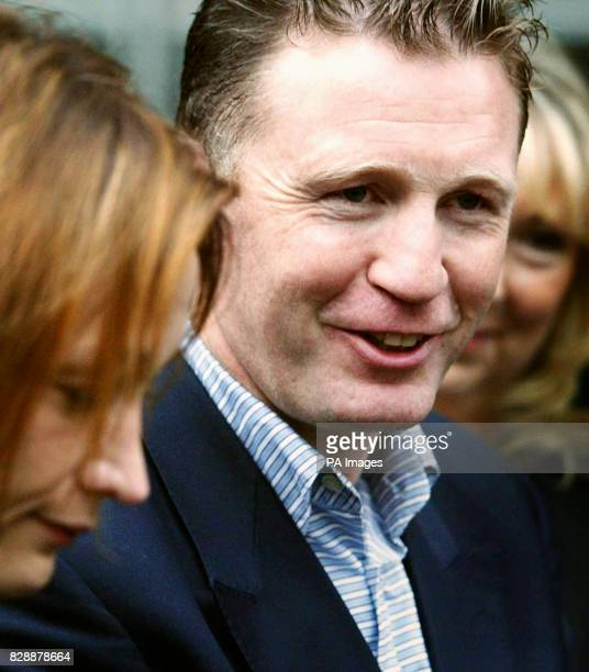 Former world boxing champion Steve Collins after appearing in Southend Magistrates' Court accused of slamming a fridge door against his girlfriend's...