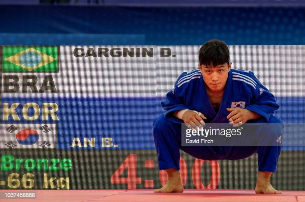Former World champion Baul An of South Korea prepares for his u66kg bronze medal contest that he successfully won during day two of the 2018 World...