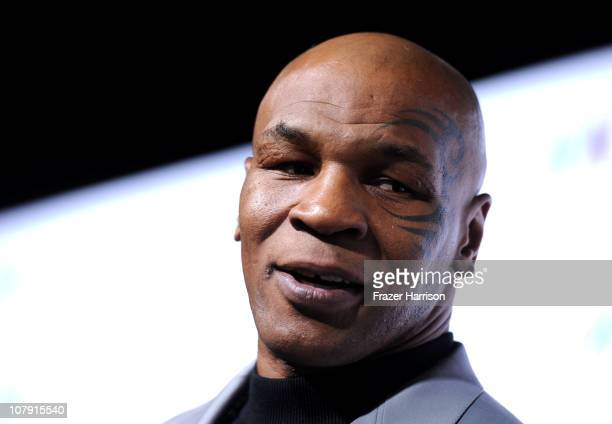 Former World Champion Boxer Mike Tyson arrives at OWN Oprah Winfrey Network's 2011 TCA Winter Press Tour Cocktail Party at the Langham Hotel on...