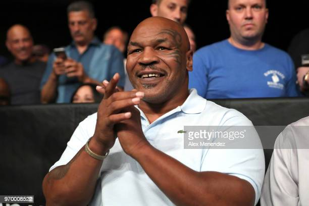 Former World Champion boxer Mike Tyson claps as the 2018 Hall of Fame class is introduced during the Golden Boy on ESPN fight night at Turning Stone...