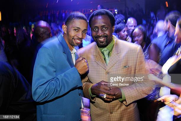 Former world champion boxer Thomas Hearns and Jonathan Jackson attend the Hublot's Legendary Evening of Boxing afterparty at The Bank Nightclub at...