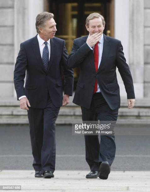 Former World Champion runner and current senator Eamonn Coghlan joins Taoiseach Enda Kenny for a press conference at Leinster House to announce he...