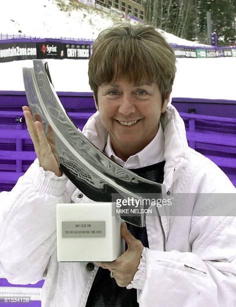 Former World Cup ski champion and Olympic medalist Nancy Greene Raine from Sun Peaks, British Columbia, Canada holds 1999 HALVA International Skiing...