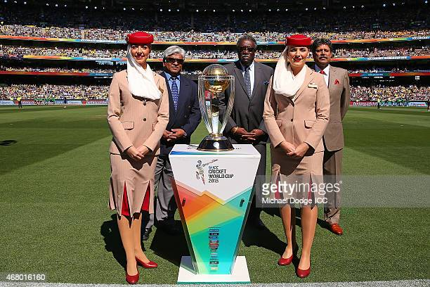 Former World Cup winning captains Arjuna Ranatunga of Sri Lanka Clive Lloyd of the West Indies and Kapil Dev of India stand with the trophy during...