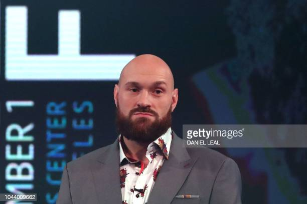 Former world heavyweight champion British boxer Tyson Fury attends a press conference in London on October 1 2018 ahead of his scheduled world...