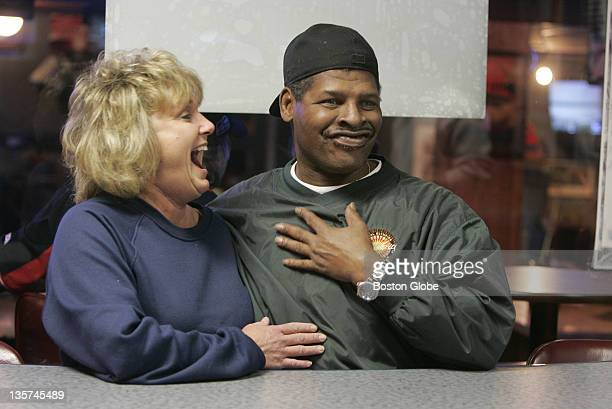 Former World Heavyweight Champion Leon Spinks with girlfriend Brenda Glur in a Columbus Neb bowling alley