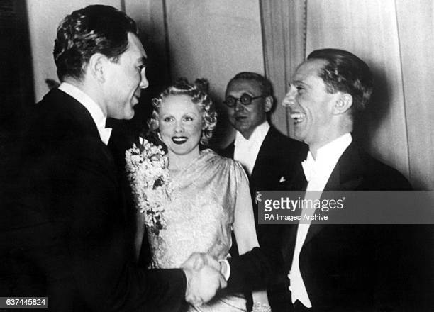 Former World Heavyweight Champion Max Schmeling shakes hands with Nazi Propaganda Minister Joseph Goebbels at a reception thrown by Dr Goebbels in...