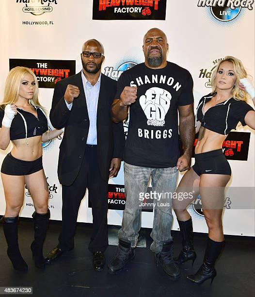 Former world heavyweight champion Michael Moorer and Twotime world heavyweight champion Shannon The Cannon Briggs attend Shannon Briggs vs Mike...