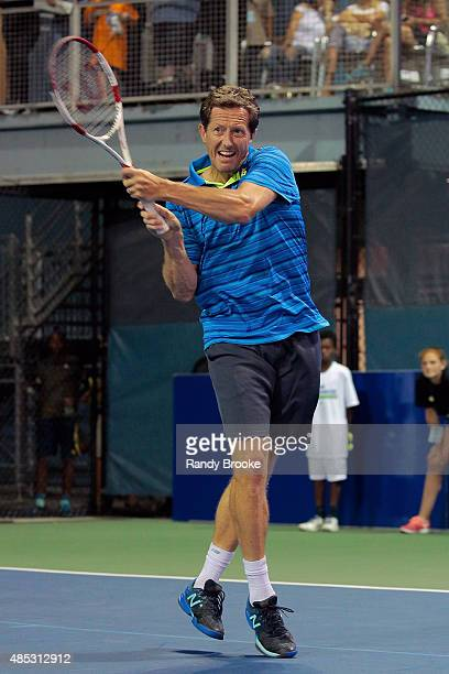 Former world No. 1 doubles player Jonas Bjorkman during the Johnny Mac Tennis Project 2015 Benefit Matches at Randall's Island on August 26, 2015 in...