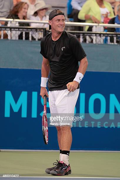 Former World No 1 Lleyton Hewitt on the court during the Johnny Mac Tennis Project 2015 Benefit Matches at Randall's Island on August 26 2015 in New...