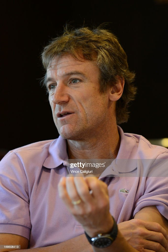 Former World No. 1 tennis player from Sweden Mats Wilander, chats with media during the Eurosport tennis panel of experts at Hilton on the Park on January 15, 2013 in Melbourne, Australia.