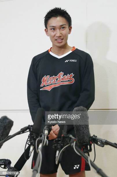 Former world No 2 Kento Momota meets with reporters after winning the men's singles title at the Japan Ranking Circuit tournament in Saitama near...