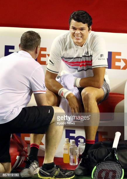 Former World No 3 Milos Raonic of Canada pulls out of a Japan Open secondround match against Japan's Yuichi Sugita at Ariake Tennis Forest Park in...