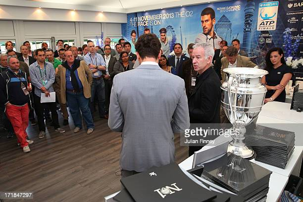 Former World Number 1 John McEnroe speaks with Justin Gimelstob at a book launch for the new book 'No 1 Celebrating 40 Years of the Ultimate...