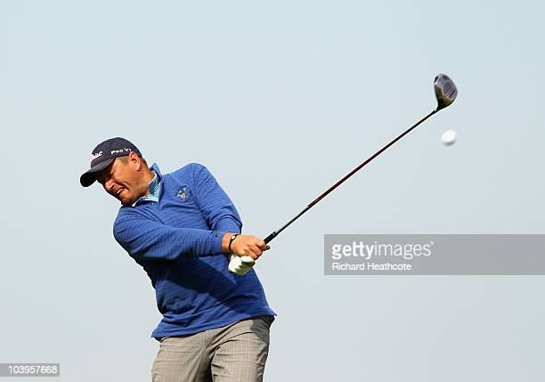 Former World number 1 tennis player Yevgeny Kafelnikov of Russia in action during the second round of the Kazakhstan Open at the Zhailjau Golf Resort...