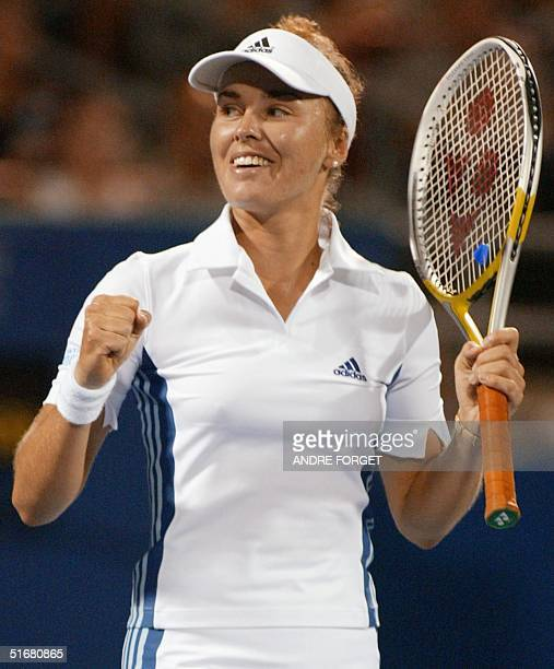 Former world number one Martina Hingis of Switzerland reacts after a shot against Clarisa Fernandez of Argentina during the third round of the Rogers...