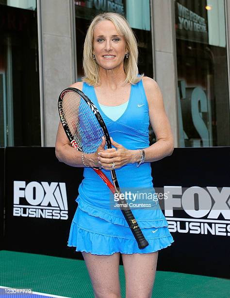 Former World Tennis Champion Tracy Austin poses for a photo during a vist to 'FOX Friends' at FOX Studios on August 30 2011 in New York City