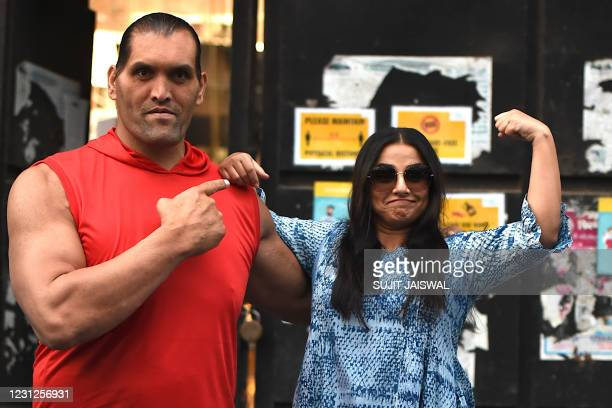 """Former World Wrestling Entertainment wrestler and actor Dalip Singh alias the """"Great Khali"""" and Bollywood actress Vidya Balan pose for a picture..."""