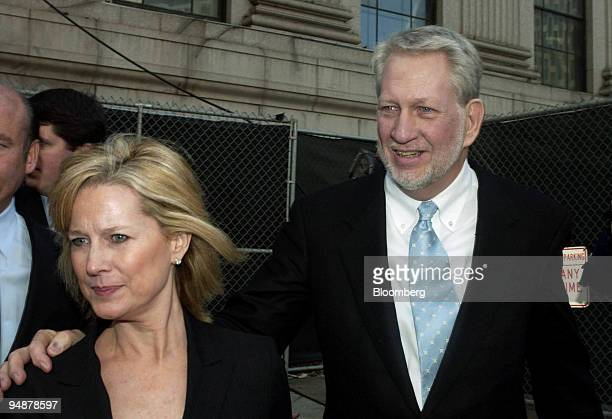 Former Worldcom CEO Bernard Ebbers right and his wife Kristie Ebbers leaves federal court on $10 million bail after pleading not guilty to all...