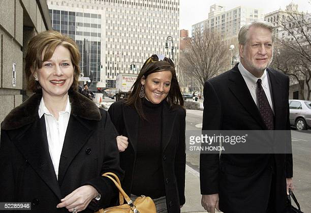 Former WorldCom Inc CEO Bernard Ebbers arrives at federal court with his wife Kristie and an unidentified woman 07 March 2005 in New York as a jury...