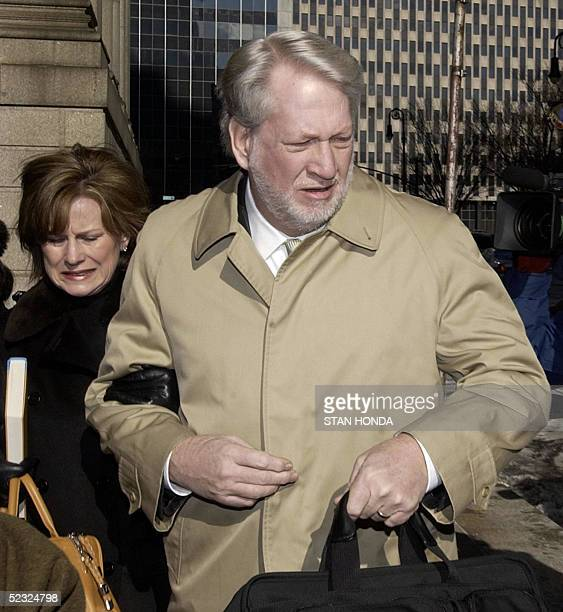 Former WorldCom Inc CEO Bernard Ebbers arrives at federal court with his wife Kristie 09 March 2005 in New York as a jury deliberates fraud and...