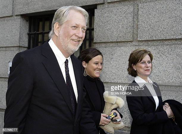 Former WorldCom Inc CEO Bernard Ebbers leaves federal court with his wife Kristie and an unidentified woman 07 March 2005 in New York after a jury...