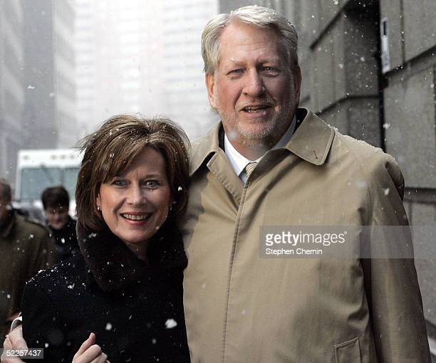 Former WorldCom Inc Chief Executive Bernard Ebbers leaves federal court with his wife Kristie February 28 2005 in New York City Ebbers took the...