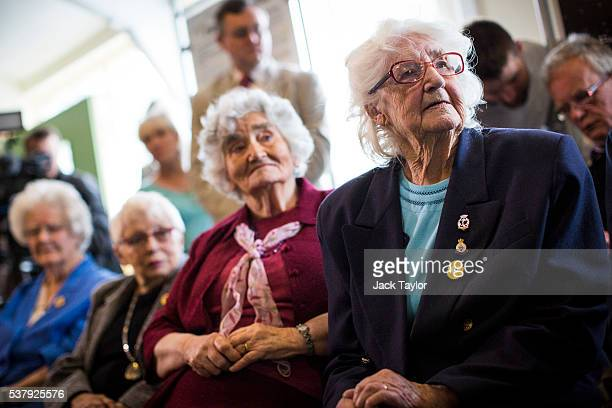 Former Wrens and Colossus operators at Bletchley Park Lorna Cockayne Irene Dixon Shirley Wheeldon and Margaret Mortimer listen to a talk at The...