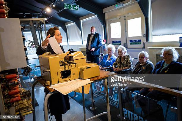 Former Wrens and Colossus operators at Bletchley Park Margaret Mortimer Joanna Chorley Shirley Wheeldon and Lorna Cockayne listen to Commercial...
