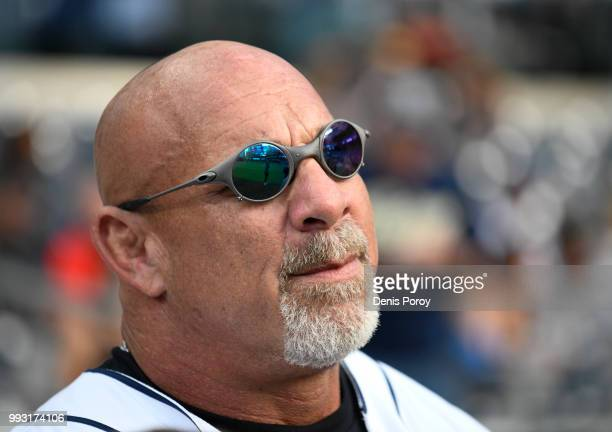 Former wrestler Bill Goldberg throws out the first pitch before a baseball game between the San Diego Padres and the Pittsburgh Pirates at PETCO Park...