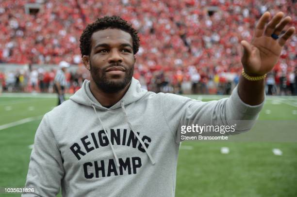 Former wrestler Jordan Burroughs of the Nebraska Cornhuskers was honored during the game against the Colorado Buffaloes at Memorial Stadium on...