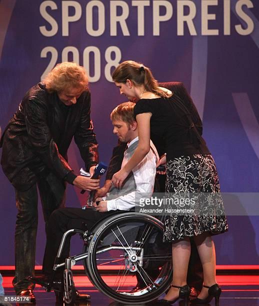 Former wrestler Martin Kittner receives his Award from TV presenter Thomas Gottschalk during the Bavarian Sport Award 2008 at the International...