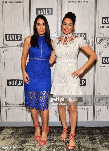 Former WWE Divas Champions and TV personalities Brie Bella and Nikki Bella visit Build Series to discuss Total Bellas at Build Studio on May 17 2018...