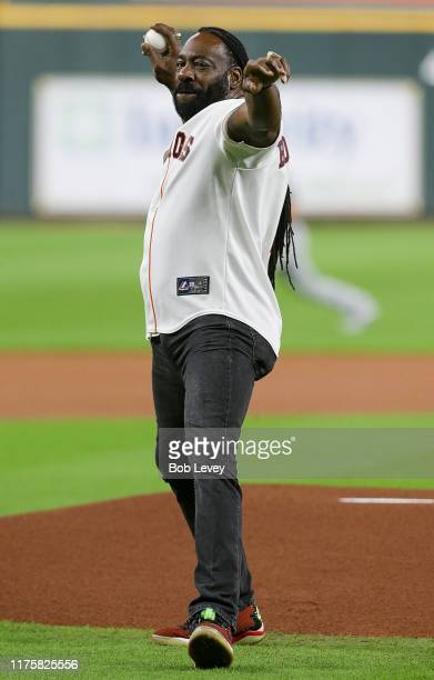 Former WWE Superstar Booker T throws out the ceremonial first pitch as he was on hand to promote the upcoming 2020 Royal Rumble to be held at Minute...