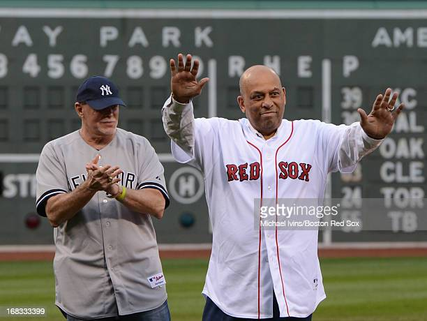 Former Yankee designated hitter Ron Blomberg left and former Red Sox designated Orlando Cepeda were honored during a ceremony in recognition of the...