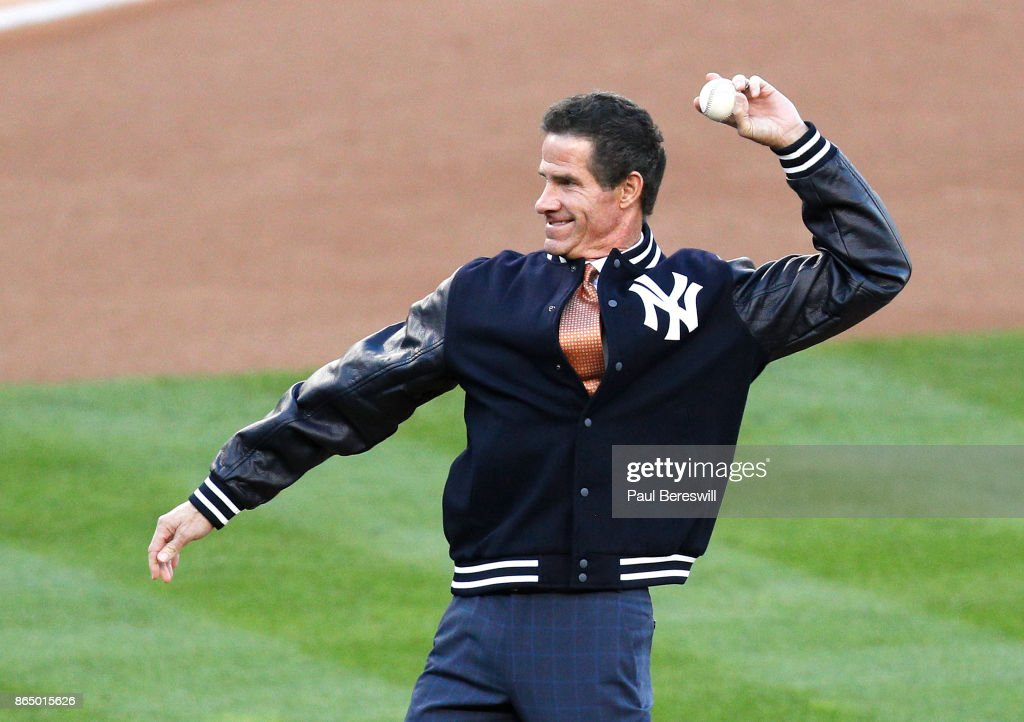 Former Yankee player Paul O'Neill throws out the ceremonial first pitch before Game Four of the American League Championship Series against the Houston Astros on October 17, 2017 at Yankee Stadium in the Bronx borough of New York City. Yankees won 6-4.