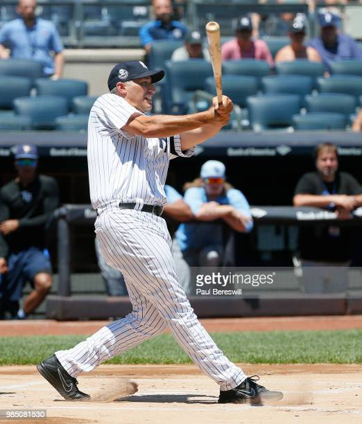 Former Yankees player Andy Pettitte bats in the Old Timers game during New York Yankees Old Timers Day festivities before an MLB baseball game...