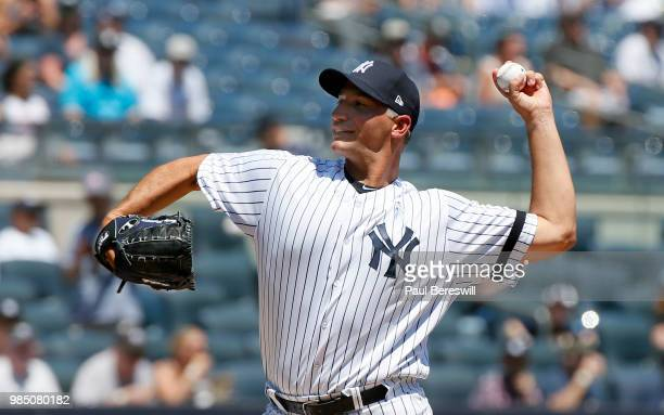 Former Yankees player Andy Pettitte pitches in the Old Timers game during New York Yankees Old Timers Day festivities before an MLB baseball game...