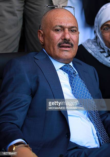 Former Yemeni president Ali Abdullah Saleh attends a festival on the occasion of the first anniversary of the handover of power in Sanaa on February...